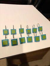 Set Of 12 Decorative Square Shower Hooks Green And Blue:  Ceramic & Metal