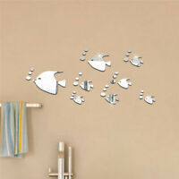 3D Fish Wall Stickers Mirror Decal Fish Home Bathroom Decor Removable DIY