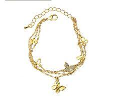 Lovely 14K Gold Plated  Crystal Butterfly Chain Bracelet Jewellery Women Gift