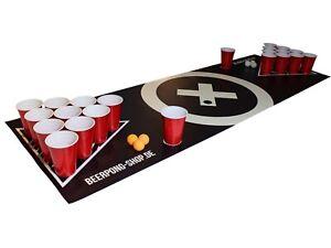 """Beer Pong Tisch Matten Set """"Audio Table"""" inkl. 70 Red Cups, Regeln und 6 Bällen"""