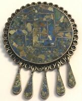 ❤️Vintage Tereu Mexican Aztec Inlayed ~ Necklace or Pin Silver Turquoise Lapis❤️