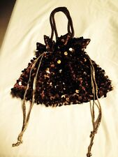 Hand Beaded & Sequence Brown Handbag