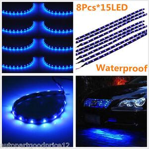 8pcs 15LED 30cm Auto Car Grill Flexible Waterproof Light Strip Blue Lamp Bar 12V