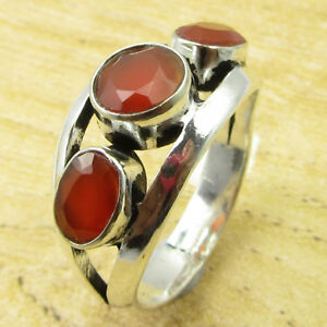 Sparkling Carnelian DESIGNER Ring Size 6 ! Silver Plated Metal Jewelry BRAND NEW