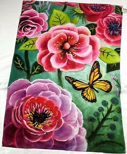 "FLOWERS BUTTERFLY 2 DESIGNS New Spring Decorative House Flag approx 28"" X 40"""
