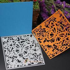 2 X Butterfly Flower Square Frame Cutting Dies Stencils Scrapbooking Craft
