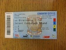 21/02/2009 BIGLIETTO: Coventry City V Birmingham City (SKY creazioni Lounge). unle