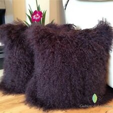 2 X DARK BROWN 40x40CM GENUINE MONGOLIAN SHEEPSKIN LAMB WOOL FUR CUSHION COVERS
