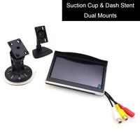 """5"""" Car Monitor 12-24V Car TFT LCD Screen Windshield Glass Suction Cup Dash Mount"""