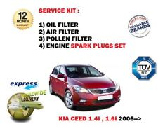 FOR KIA CEED 1.4 1.6 2006-> OIL AIR POLLEN 3 FILTER SERVICE KIT + SPARK PLUGS