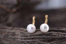 Boucles d'oreilles Dormeuse Perle Culture Blanc Plat 11~12mm Plaqué Or TZ4