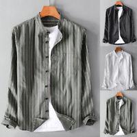 Mens Vintage Collarless Striped Long Sleeve Shirt Slim Fit Casual Formal Top Tee
