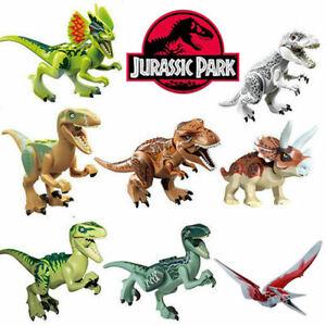 8 PCS Dinos fit Jurassic World Lego Dinosaur Tyrannosaurus TRex Park Raptor Toys