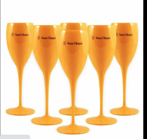 Veuve Clicquot Yellow Label Acrylic Champagne Glasses Orange x 10 New