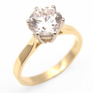 18ct Gold Ring 2 Carat Diamond Unique Solitaire Solid Engagement Ring