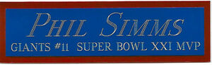 PHIL SIMMS NEW YORK GIANTS NAMEPLATE FOR YOUR AUTOGRAPHED Signed FOOTBALL JERSEY