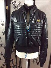 Apple Bottoms Women's Size L Black Puffer Bomber Jacket Faux Fur Lined Coat T729