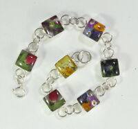 "925 sterling silver square bracelet with real flowers 6 1/8"" long"