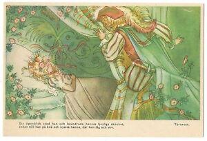 Sleeping Beauty Sweden 1930s color postcard