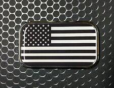"""USA America MONOCHROME Flag Domed CHROME Emblem USA Flag sticker 3D 3""""x 1.8"""""""