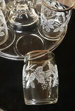 Bartlett Collins Etched Gold-banded Glasses With Unique Glass Carrier