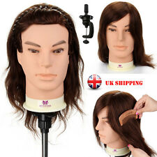100% Real Human Hair Hairdressing Training Head Man Mannequin Salon with Clamp