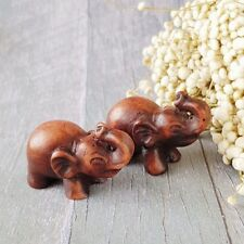 2x Mini Thai Elephant Figure Sculpture Home Collectibles Lucky Ornament Gift