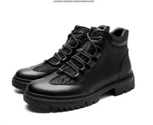 Mens Faux Leather Round Toe Ankle Boots Casual Outdoor Lace Up Sport Hiking Shoe