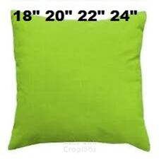 """Plain Lime Green cushions/cover 18""""20""""22""""24"""" with / without inners 100%  cotton"""