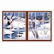 Winter Window Christmas Holiday Party Backdrop InstaView Wall Decoration