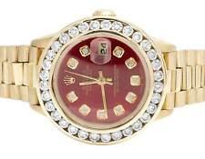 Ladies Rolex President Datejust 18K Yellow Gold 69178 Diamond Watch 3.85 Ct