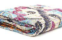 Vintage Kantha Quilt Indian Handmade Cotton Bedspread Stylish Throw Bedding Twin