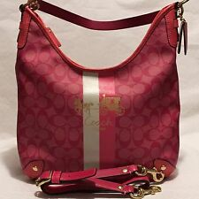 COACH Signature *HERITAGE STRIPE* Magenta Convertible Hobo Shoulder Bag ~13193~