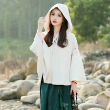 Lady Girls Cloak Cape Jacket Hooded Coat Chinese Outerwear Poncho Baggy Vintage