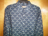 NWT NEW mens size 16.5 34/35 blue khaki print HAGGAR stretch fitted dress shirt