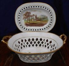 Davenport Basket And Stand Antique British Bone China Hand Painted Landscapes