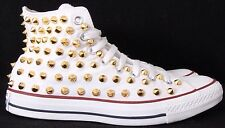 Converse allstar stM7650C White Canvas Gold Studded Spikes Hi Men's 7.5 Wmns 9.5