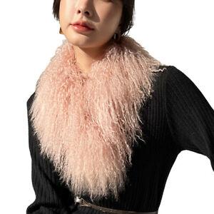 Double Sides Fur Scarf Women Real Mongolian Lamb Shawl Winter Warm Neckerchief
