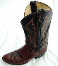Vintage Tony Lama Genuine Lizard & Leather 2-Tone Cowboy/Western Boots Sz 10 D