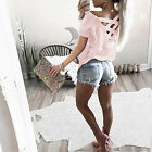 Elegante Mujer Holgado Manga Corta Suéter Camisa Blusa Informal sólido Entallado