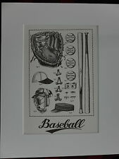 classic baseball sample gift litho art print vintage equipment picture for 11x14