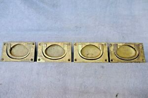 Antique X4 Great Western Railway Flush Ring Pull Draw Handles Cabinet Desk Chest