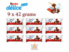 9 x KINDER DELICE Soft Chocolate Bars with Cocoa and Milk 42g 1.5oz