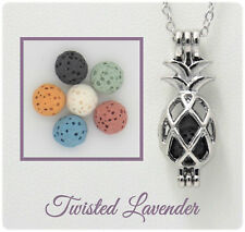 Small Pineapple Essential Oil Aromatherapy Diffuser Necklace with 6 lava stones!