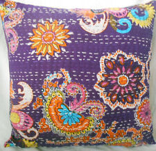 Floral Kantha Cushion Pillow Cover Indian Ethnic Throw Handmade Kantha Covers