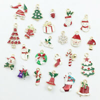 23pcs Enamel Alloy Mixed Christmas Series Pendants Jewelry Making Craft Access