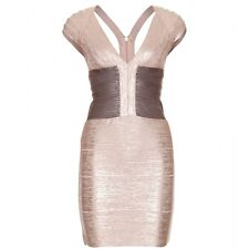 $1590 New HERVE LEGER Melena ROSE GOLD metallic bandage body con dress L