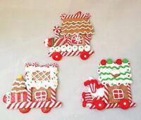 "Gingerbread Train Cookie Ornament Set 3 Christmas Candy Stripe 4"" Kurt Adler"