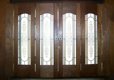 Vintage Wood Shutters with Decorative Glass inserts