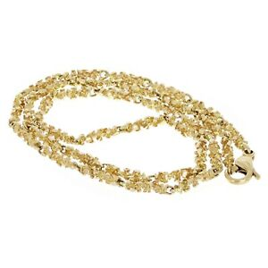 """14k Yellow Gold Solid Nugget Link Necklace 24"""" 4mm 30.1 grams"""